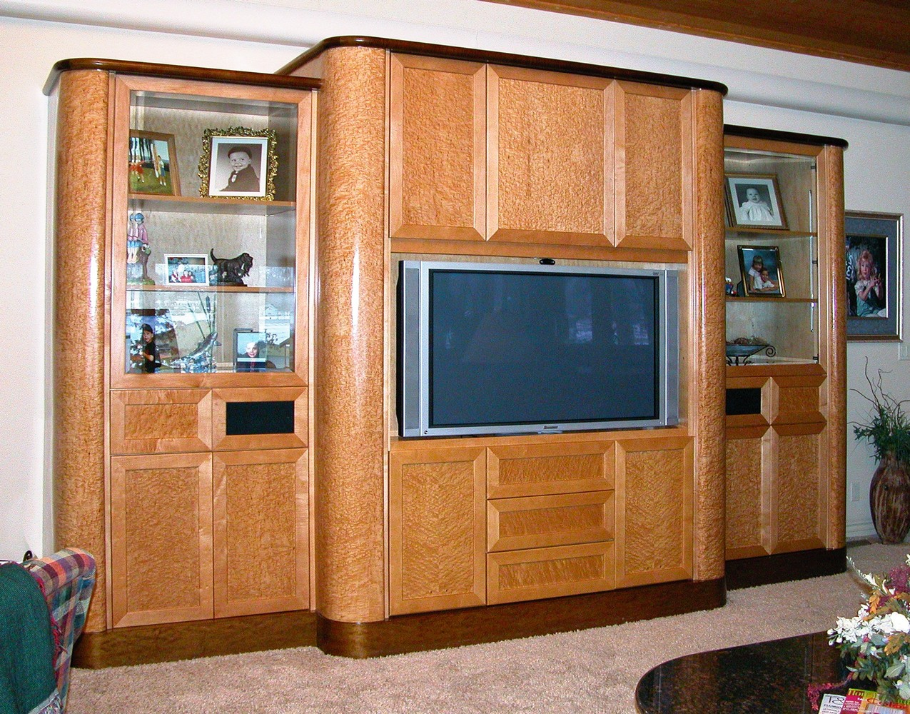 Heavy birds eye maple cabinet with gloss finish home theater   Unique Design Cabinet Co. Home Theater Cabinet Design. Home Design Ideas