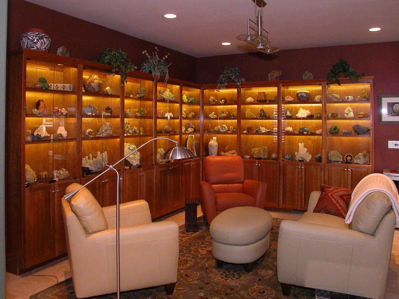 LED Illuminated Interiors In This Cherry Wood Geo Specimen Display Cabinet