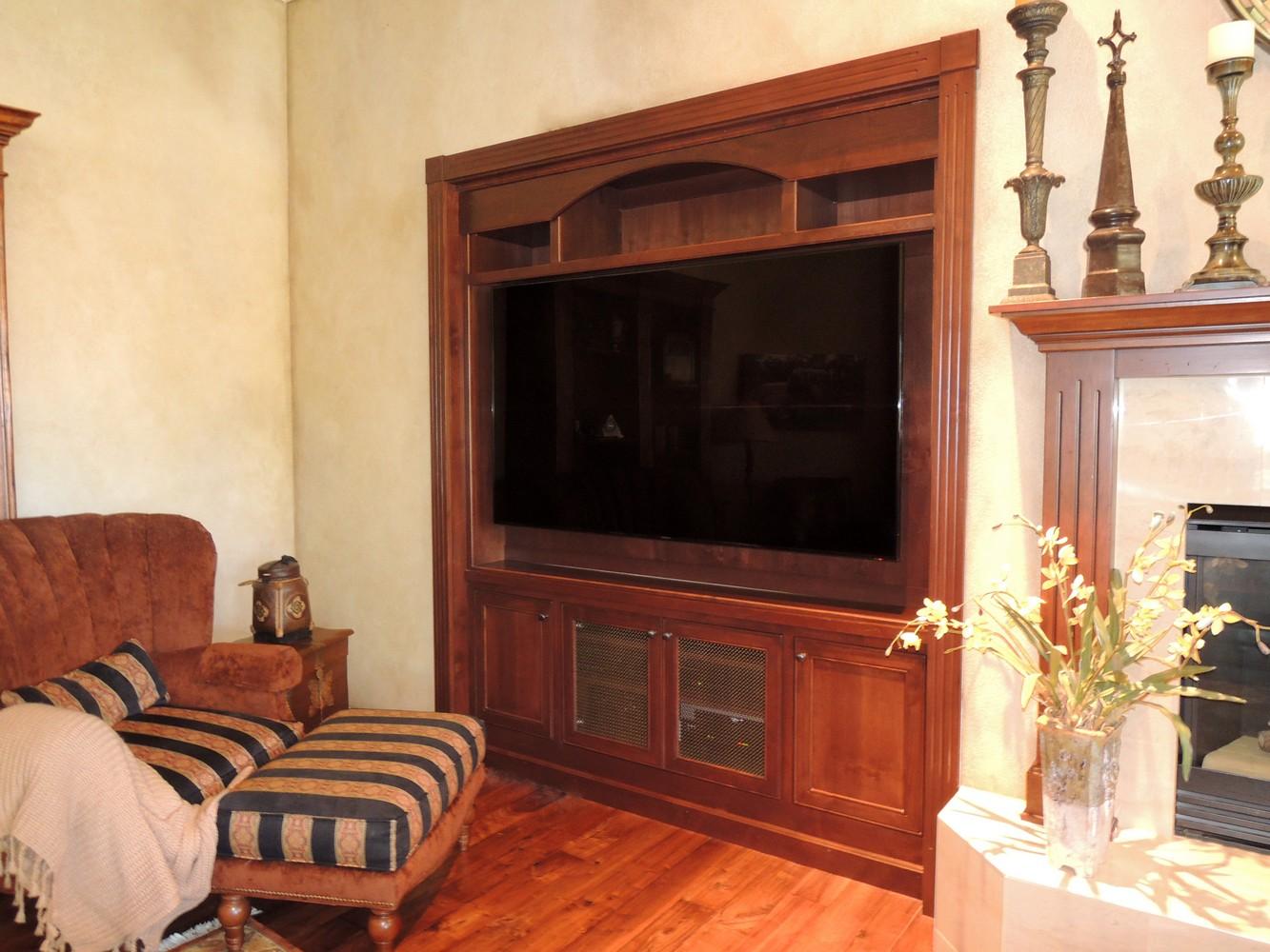 inset alder wood wide screen tv cabinet oil rubbed bronze wire mesh door panels