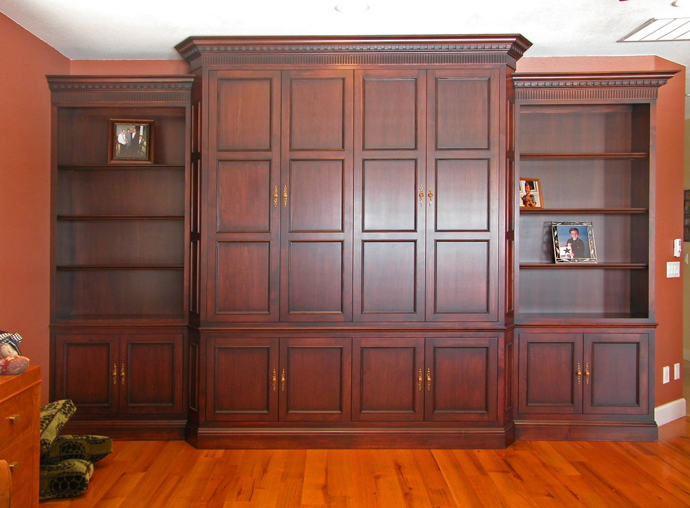 Kitchen cabinets pocket doors - Mahogany Tv Cabinet Bookshelf Bi Fold Pocket Doors Glazed Shaded Finish
