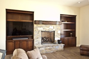 Alder niche cabinets with walnut mantel